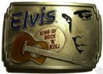 Elvis Presley Guitar belt buckle + display stand. Code KB8